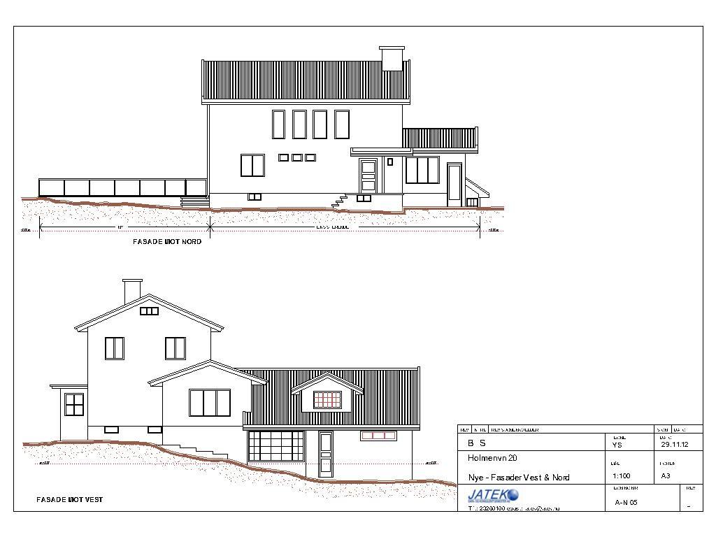Arkitekttegning - Fasader-Fasade vest&nord